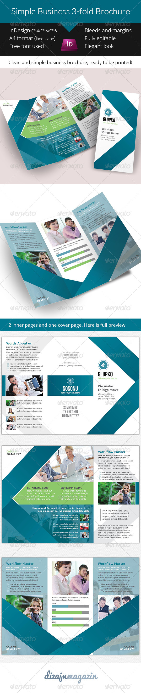 Simple Business Fold Brochure Indesign Template  Indesign