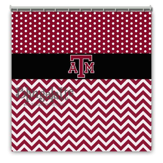 black white chevron shower curtain. Personalized Texas A M Shower Curtain  AM Polkadot Chevron Maroon White Black College would be a great gift to your Aggie couple