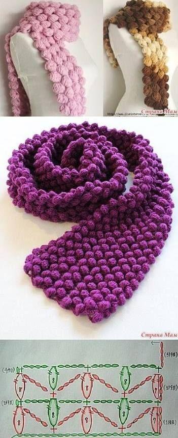 Häkelmuster-Fundgrube: Schal im Popcorn-Muster | Crochet scarves ...