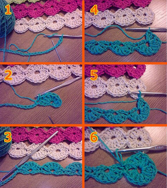 """Happy Circles Table Runner - Pattern    Make a chain (multiple of 8). I made 56 chains (Fig. 1)  Make a shell of 6 dc at the 4th. chain from hook, and close the shell with a st (slip stitch) at the 4th. chain from the shell center. (Fig. 2)  Continue making shells of 6 dc all along the chain. The center of each shell will be at the 4th. chain from the last """"st"""" of the previous shell. (Fig. 3)  Turn down your work and start making shells in the opposite side. (Fig. 4) Make 3 dc and join the…"""