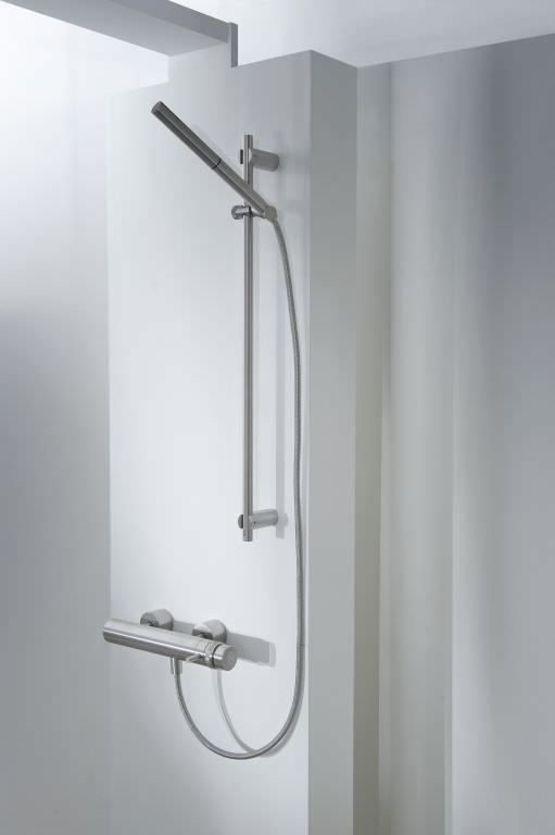 MGS Designs thermostatic shower mixer with hand shower, polished ...