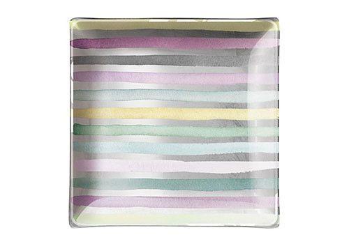 Watercolour stripe glass tray with silver foil.