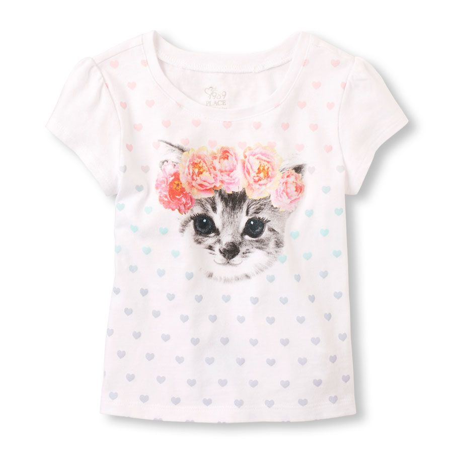 Toddler Girl s Short Sleeve Flower Crown Cat Graphic Tee
