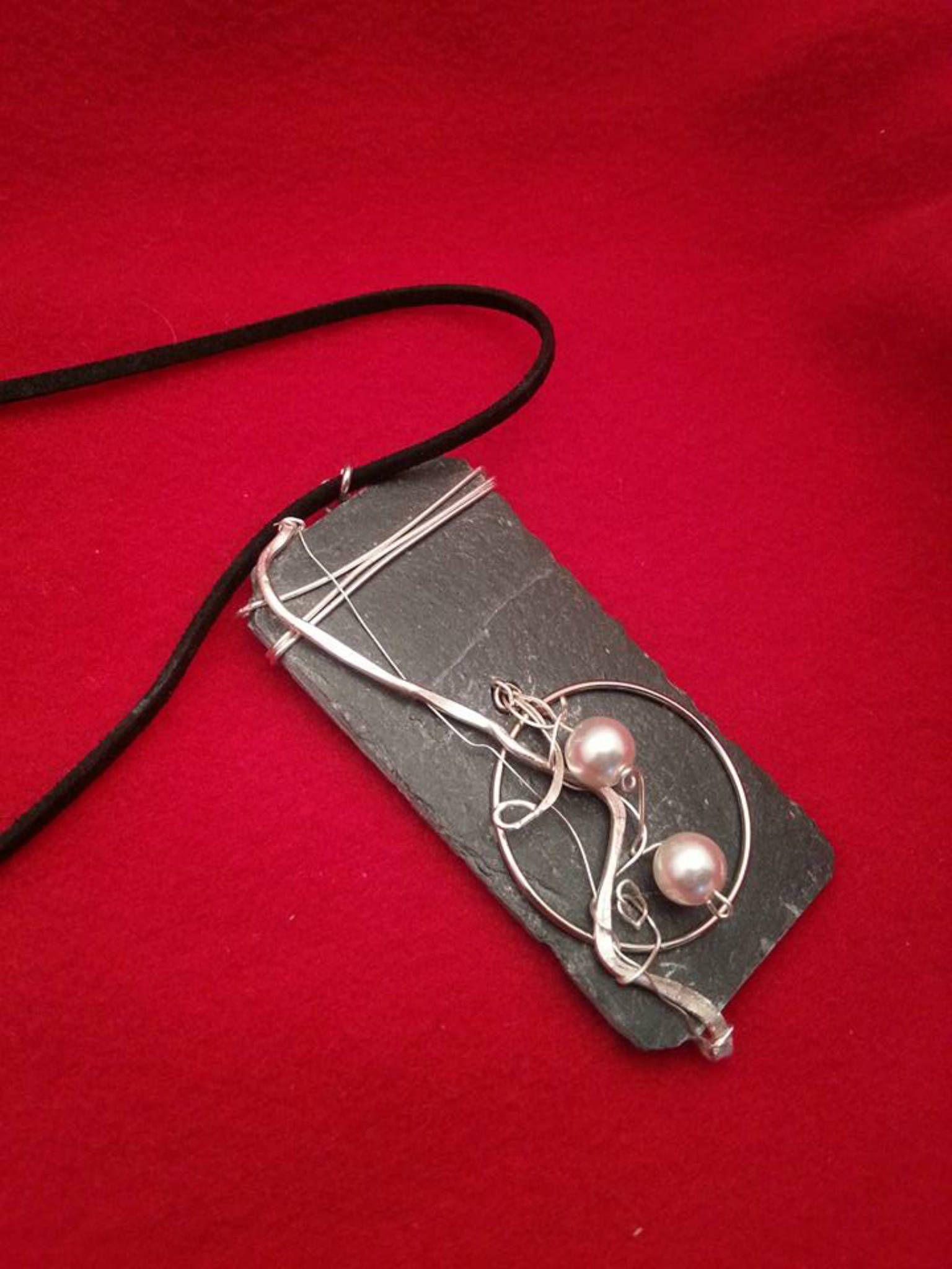 Pendant Silber Draht und Aludraht Wire Wrappen mit Schiefer Platte ...