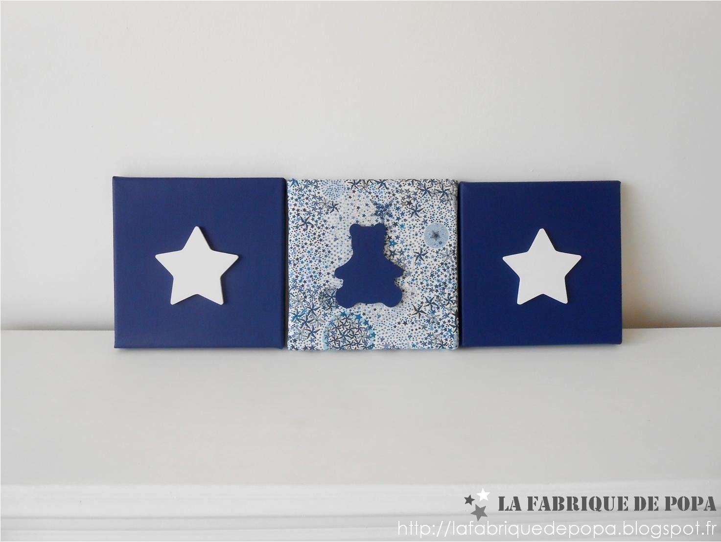 Triptyque 20x20 tissu Liberty Adelajda bleu Etoile et Ourson ...
