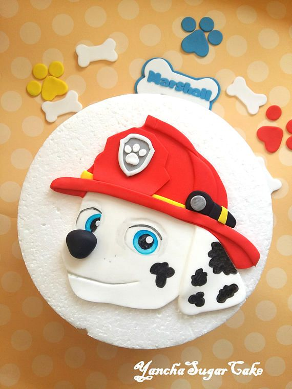 Fondant Edible 2d Cake Topper Marshall Paw Patrol Dog Birthday Party Decorations Fireman Gumpaste Baby Boy Shower Christening Pawpatrol
