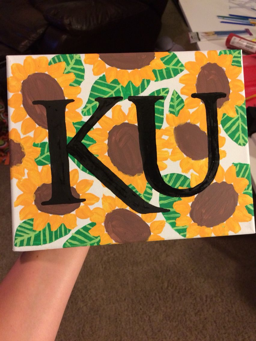 Kansas university sunflower canvas painting diy u crafts