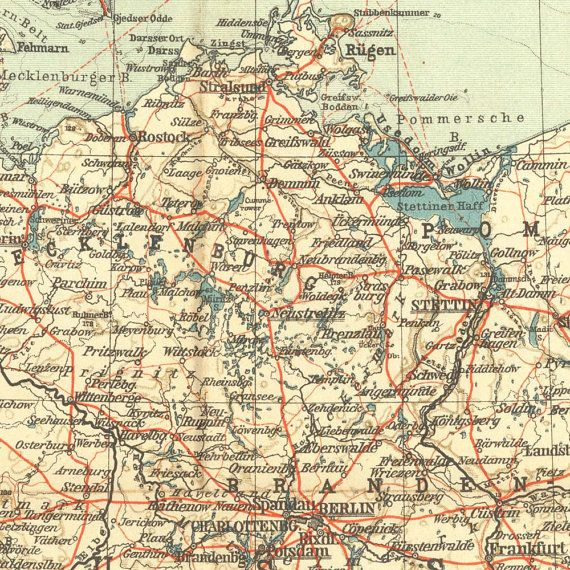 1909 Northern Germany Road Map Antique from Karl Baedeker Travel