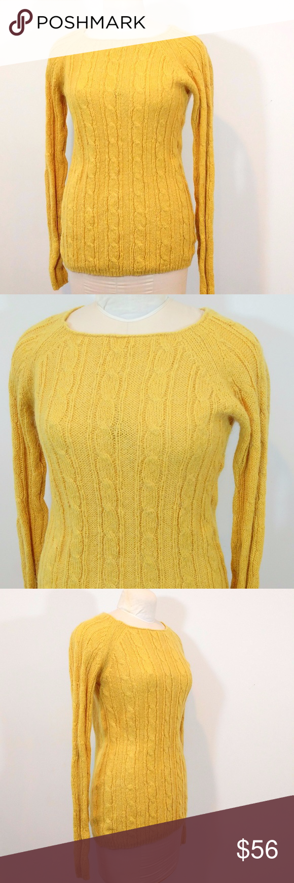 J. Crew Wool Blend Cable Knit Sweater XL | Yellow sweater, Cable ...