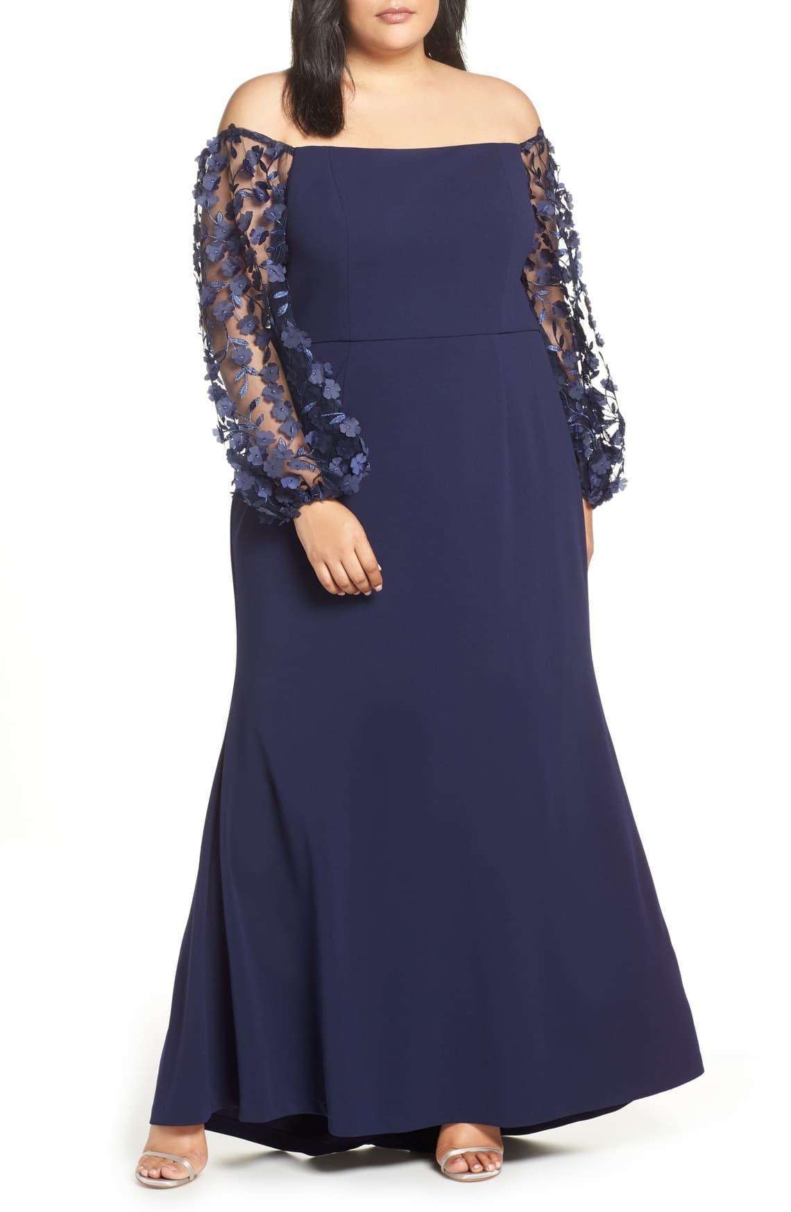 Eliza J Off The Shoulder 3d Floral Sleeve Scuba Crepe Evening Dress Plus Size Nordstrom Evening Dresses Plus Size Plus Size Formal Dresses Plus Size Dresses [ 1746 x 1140 Pixel ]