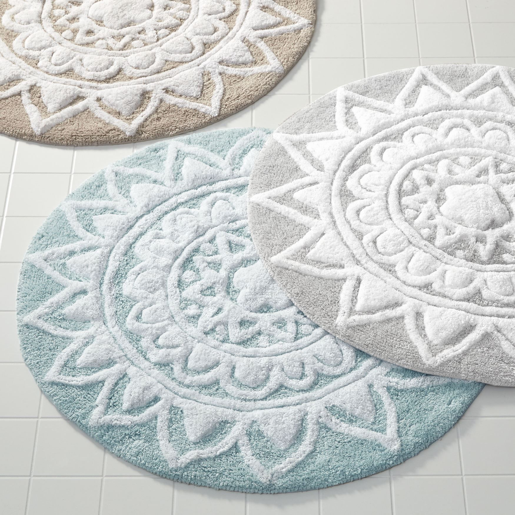 An Intricate Mandala Pattern Of Tufted 100 Cotton Adds Flair And Function To Your Bath Highly Abs Round Bathroom Rugs Bathroom Rugs Large Round Bathroom Rugs