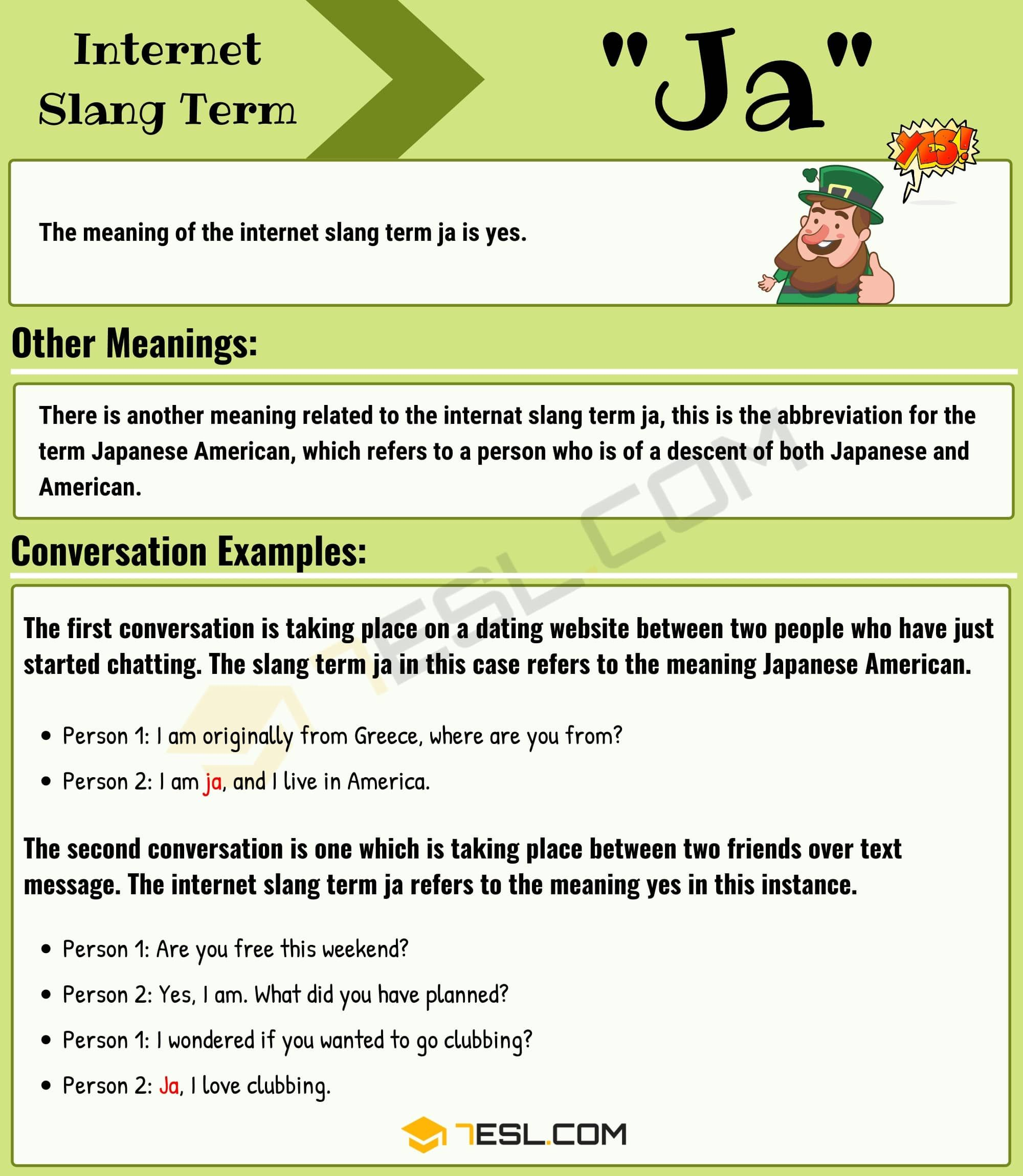 Ja Meaning: What Does 'Ja' Mean In Texting with Useful Examples? in 2020 |  Other ways to say, Learn english, Meant to be