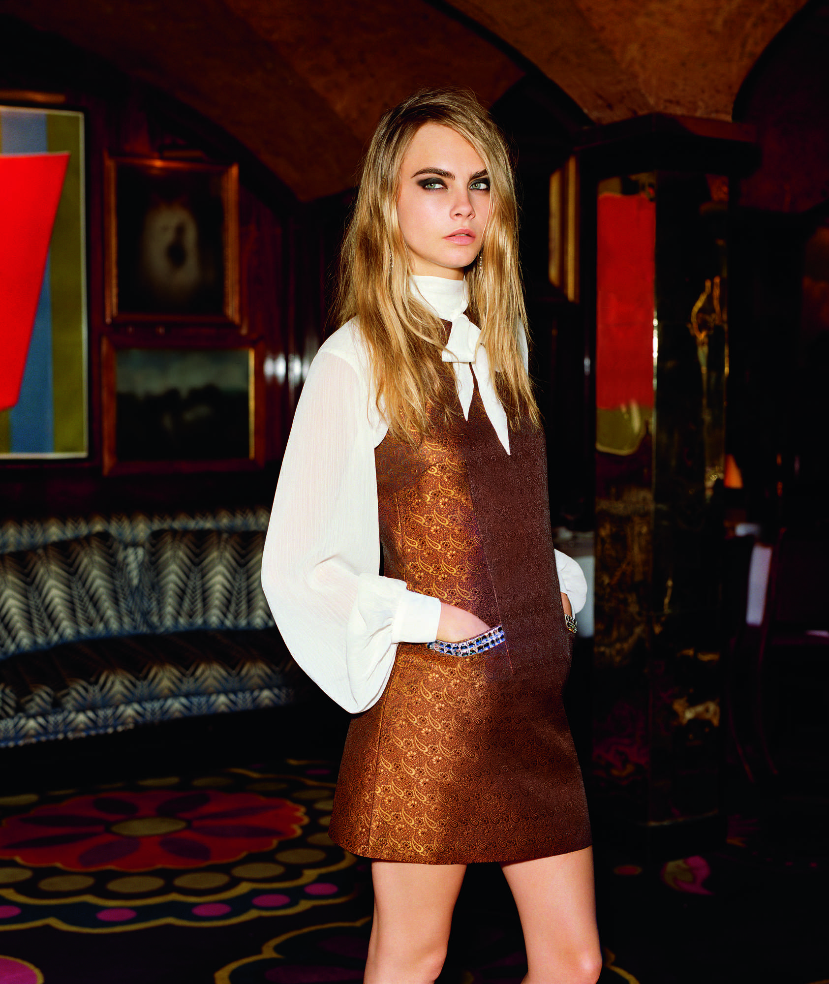 dress - Delevingne cara for topshop holiday campaign video
