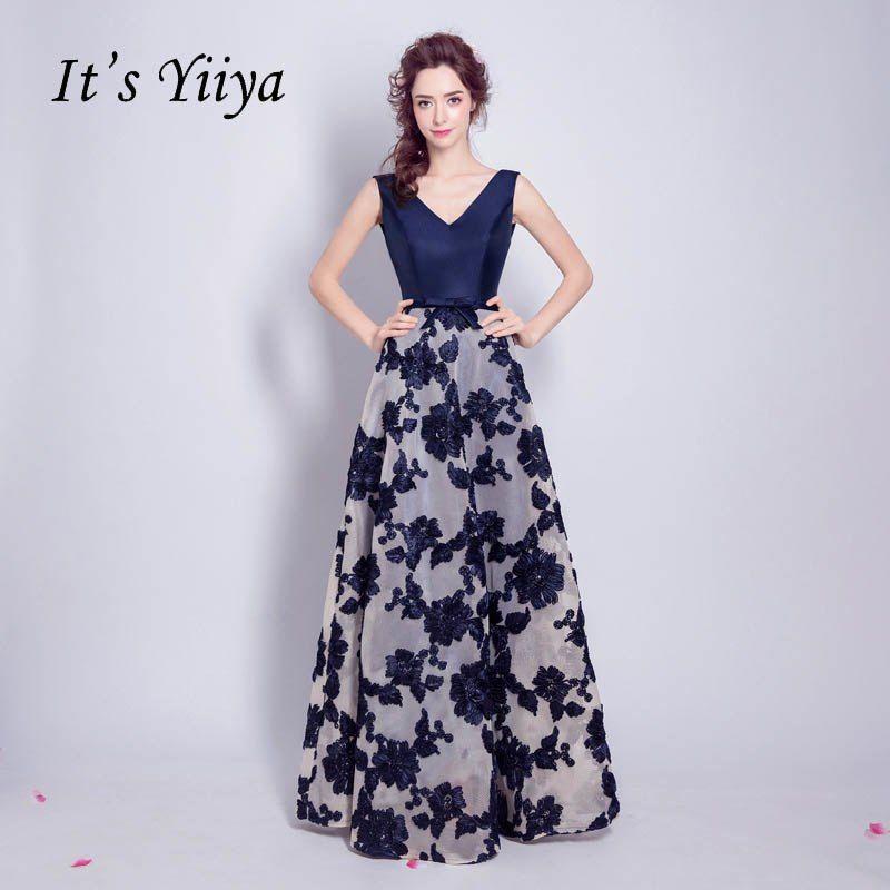 It's YiiYa Evening Dress Plus Size Deep Blue Floral Print A