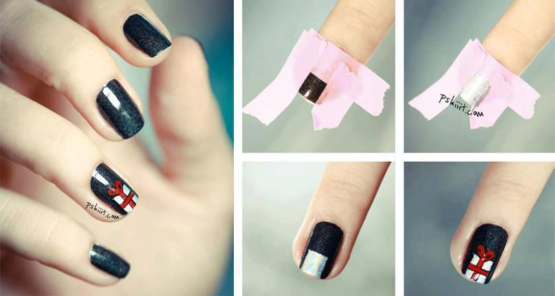 How to make gift box nail art step by step DIY instructions, How to ...