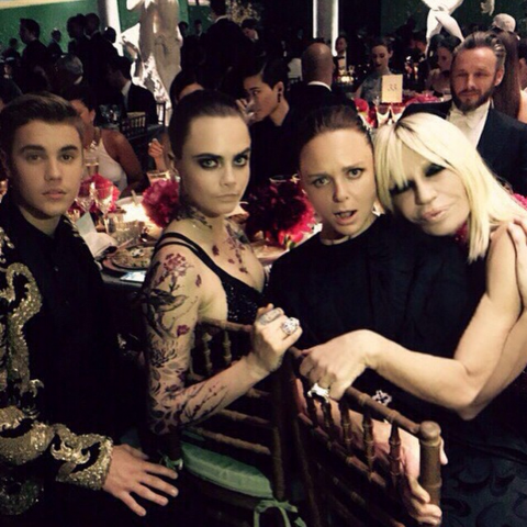 Justin Bieber, Cara Delevingne, Stella McCartney, and Donatella Versace (from @versace_official). See all the best celebrity Instagrams from the Met gala.