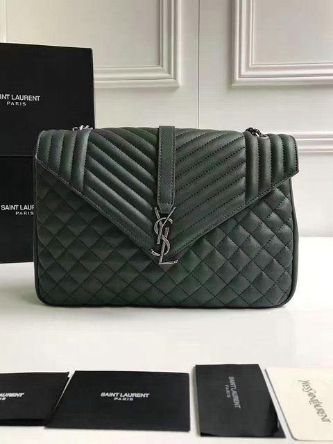 14cc1168774a YSL Spring Summer 2017 Collection-Saint Laurent Large Monogram Envelope  Satchel in Green Mixed Matelasse Leather