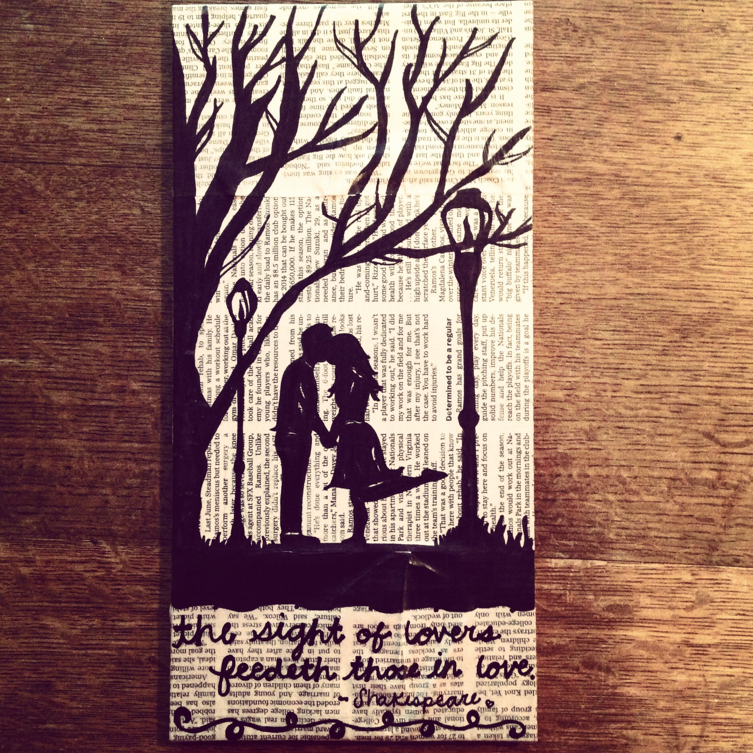 sharpie silhouette I made on newspaper and canvas :) | Art ...