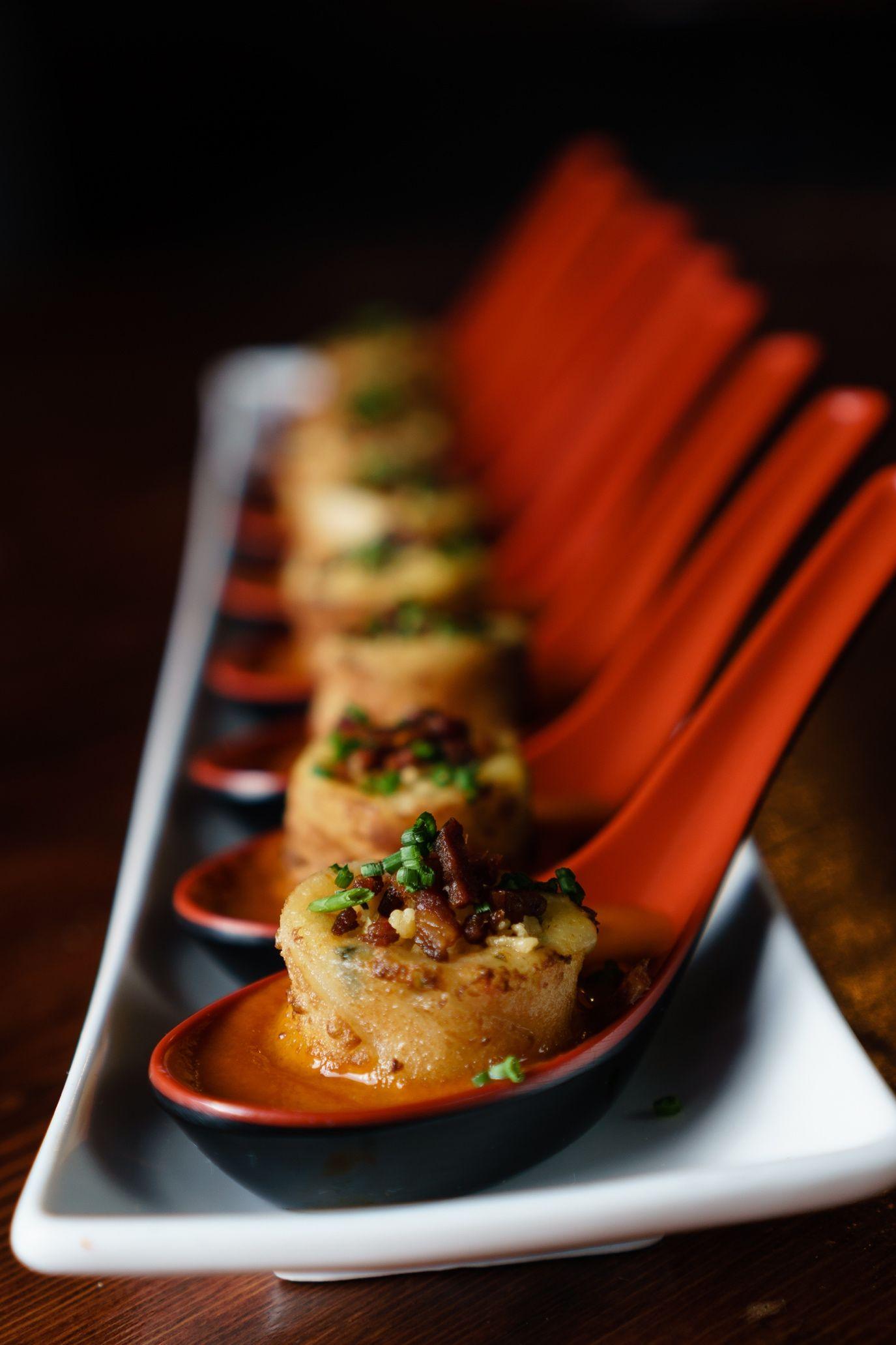 GRILLED CHEESE, SMOKED BACON & TOMATO SOUP DUMPLINGS 17