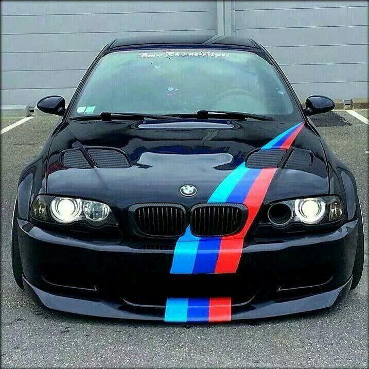 Bmw E46 M3 Black M Stripe Slammed Bmw M Mmmmmm Cars Bmw E46