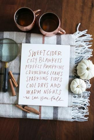 I have this art print on display in our kitchen! | Sweet cider, cozy blankets, perfect pumpkins, crunching leaves, sparkling fires, cool days and warm nights – we love you, fall!