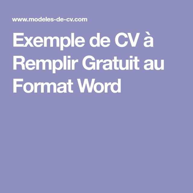 exemple de cv  u00e0 remplir gratuit au format word