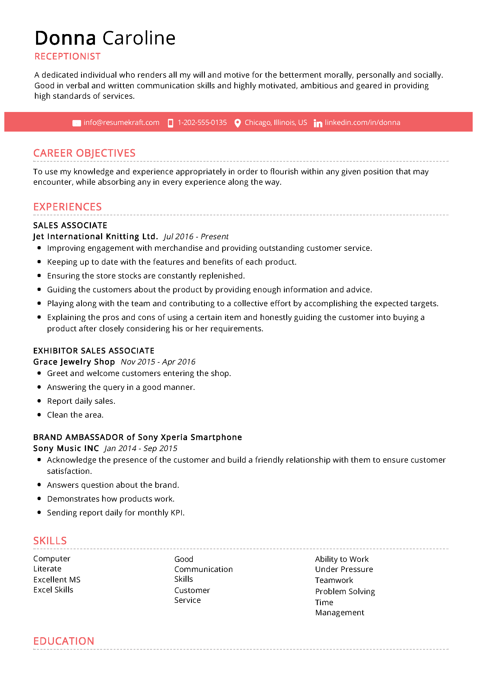 Receptionist Sample Resume in 2020 Best resume format