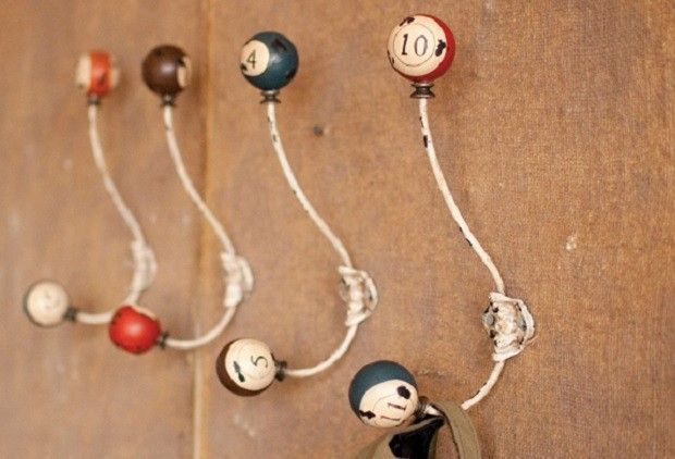 Pool Ball Hooks, Set of 4 - From Antiquefarmhouse.com - http://www.antiquefarmhouse.com/current-sale-events/accent17/pool-ball-hooks-set-of-4.html