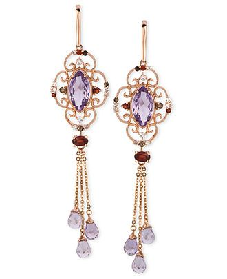 Le Vian 14k Rose Gold Earrings, Multistone Dangle Earrings - Earrings - Jewelry & Watches - Macy's