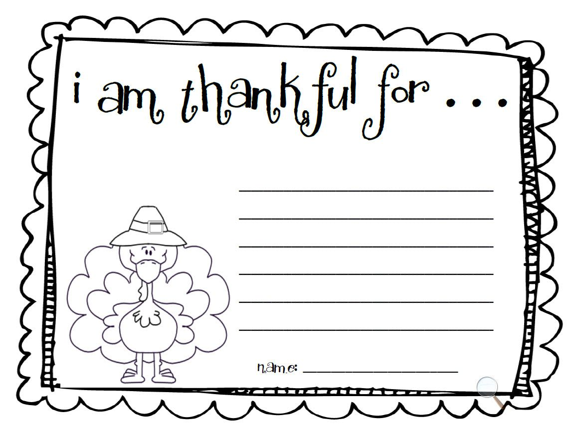 I Am Thankful For Printable Turkey