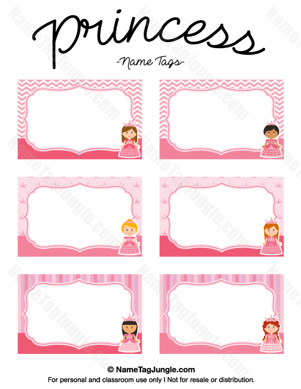 free printable princess name tags the template can also be used for