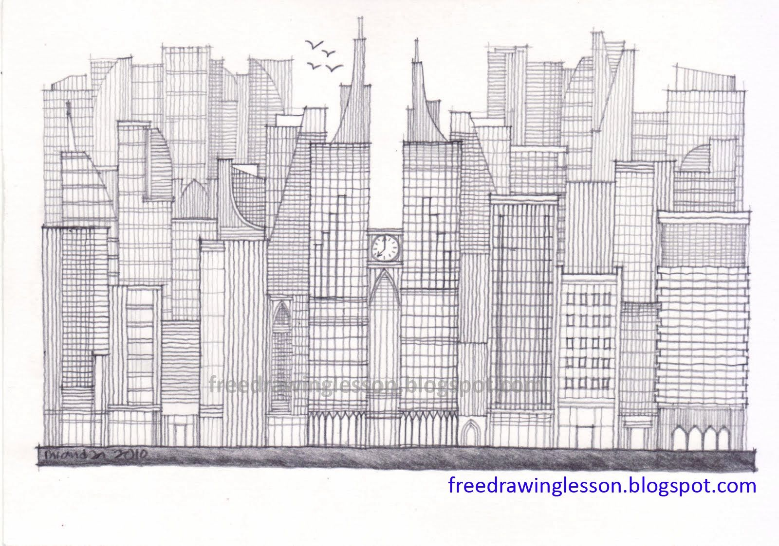 Highrise Buildings Sketch Draw Building Drawing Building