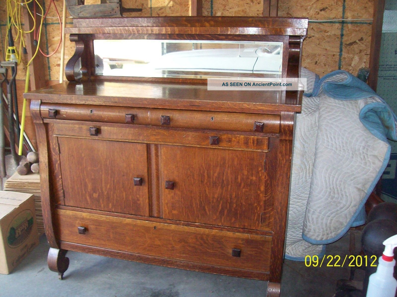 Beau Antique Buffet Sideboard | Antique Empire Style Oak Sideboard/server Buffet  W/ Beveled Mirror .