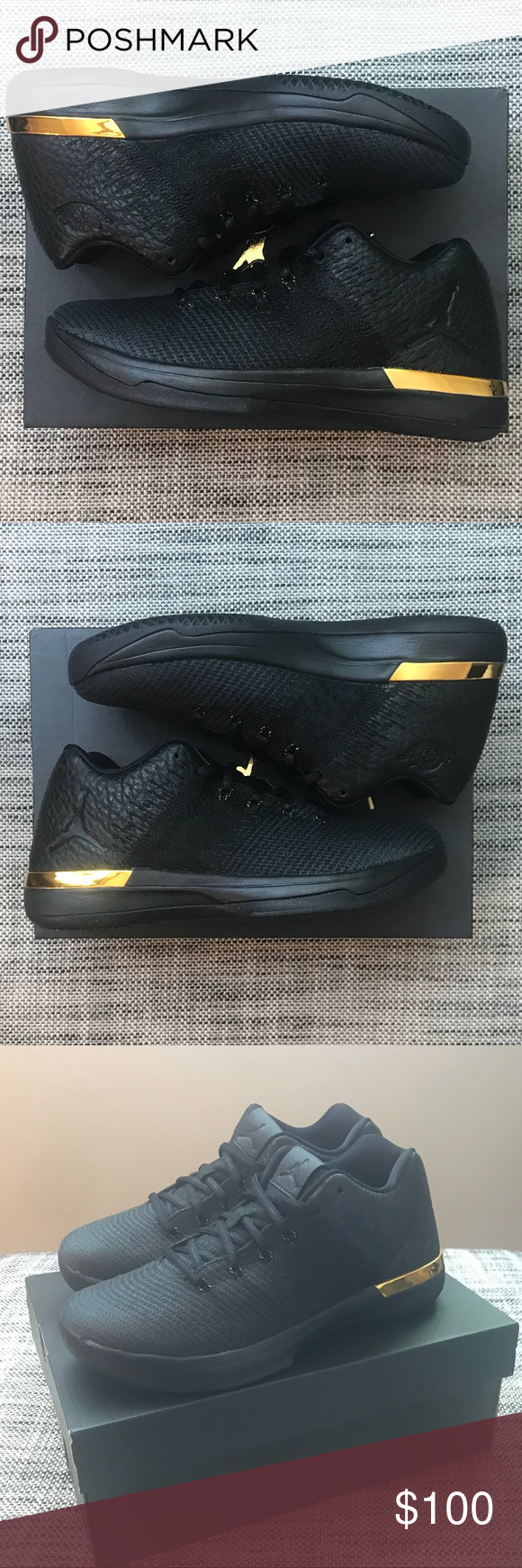 a05f62bae56497 Nike Air Jordan XXXI 31 Black Gold 897562-023 7Y Selling a Brand New in Box  pair of Nike Air Jordan XXXI (31) Low BG Shoes