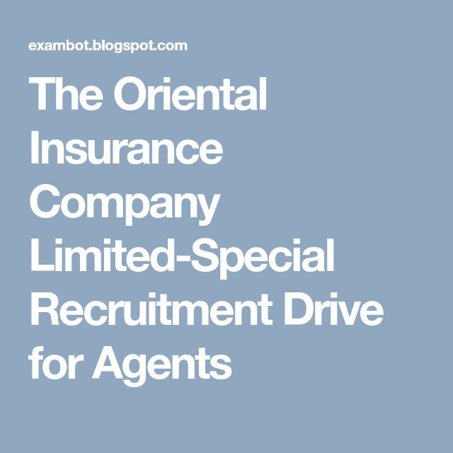The Oriental Insurance Company Limited Special Recruitment Drive