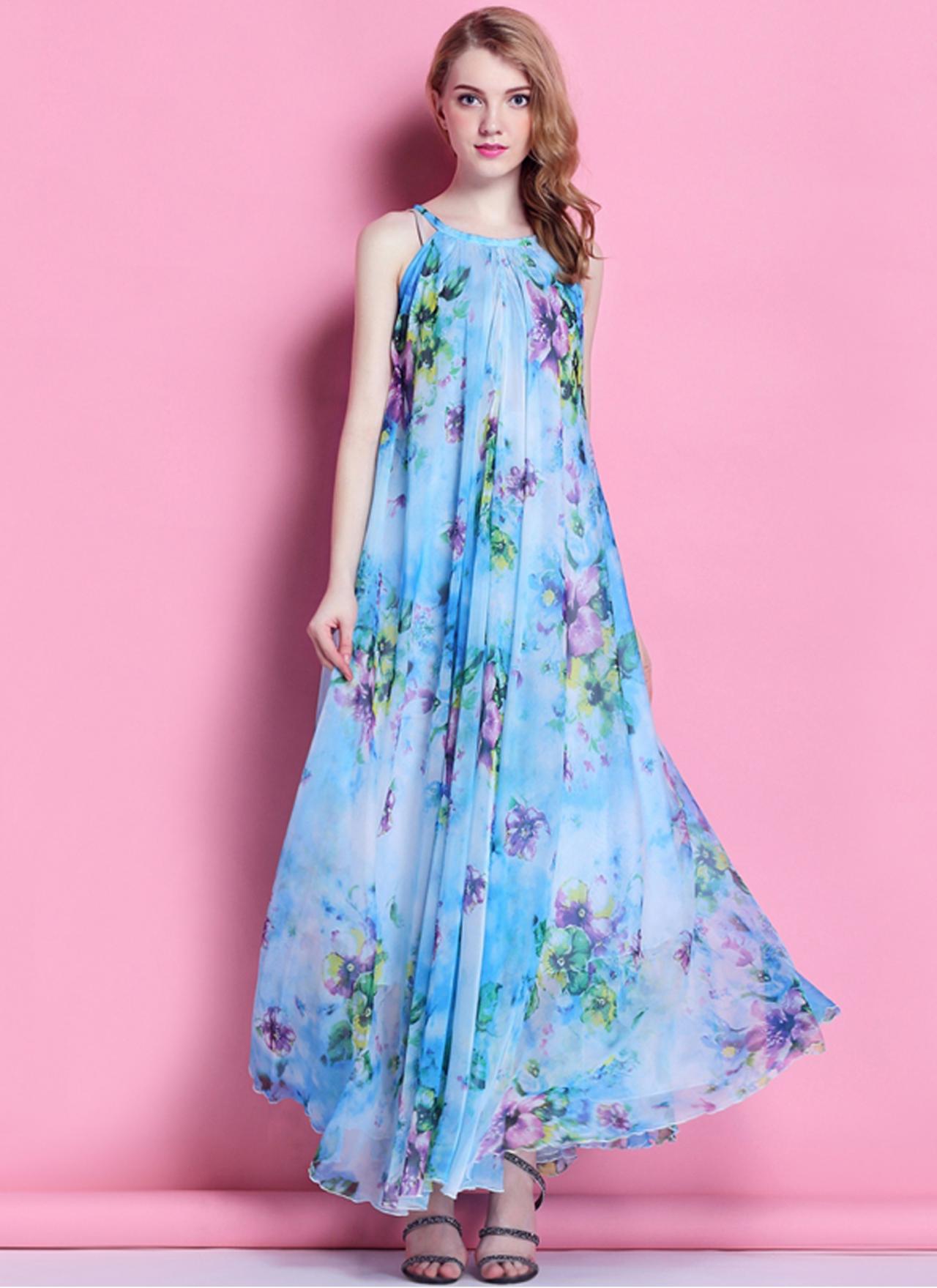 8b0d159922be Boho Floral Long Beach Maxi Dress Lightweight Sundress Plus Size Summer  Dress Holiday Beach Dress Br on Luulla
