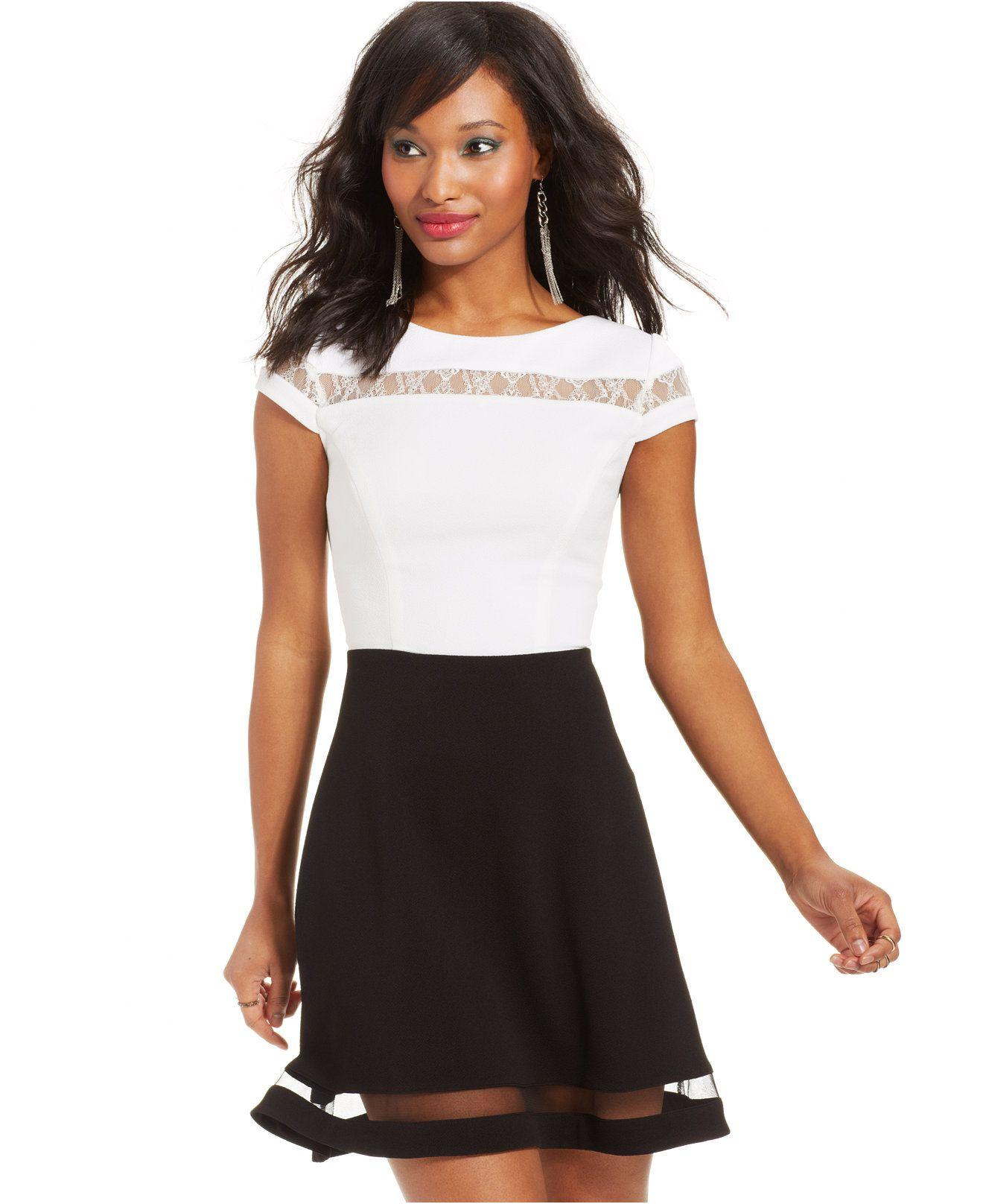 cb817c4565e Teeze Me Juniors' Colorblock Illusion Dress - Teenage Dresses ...