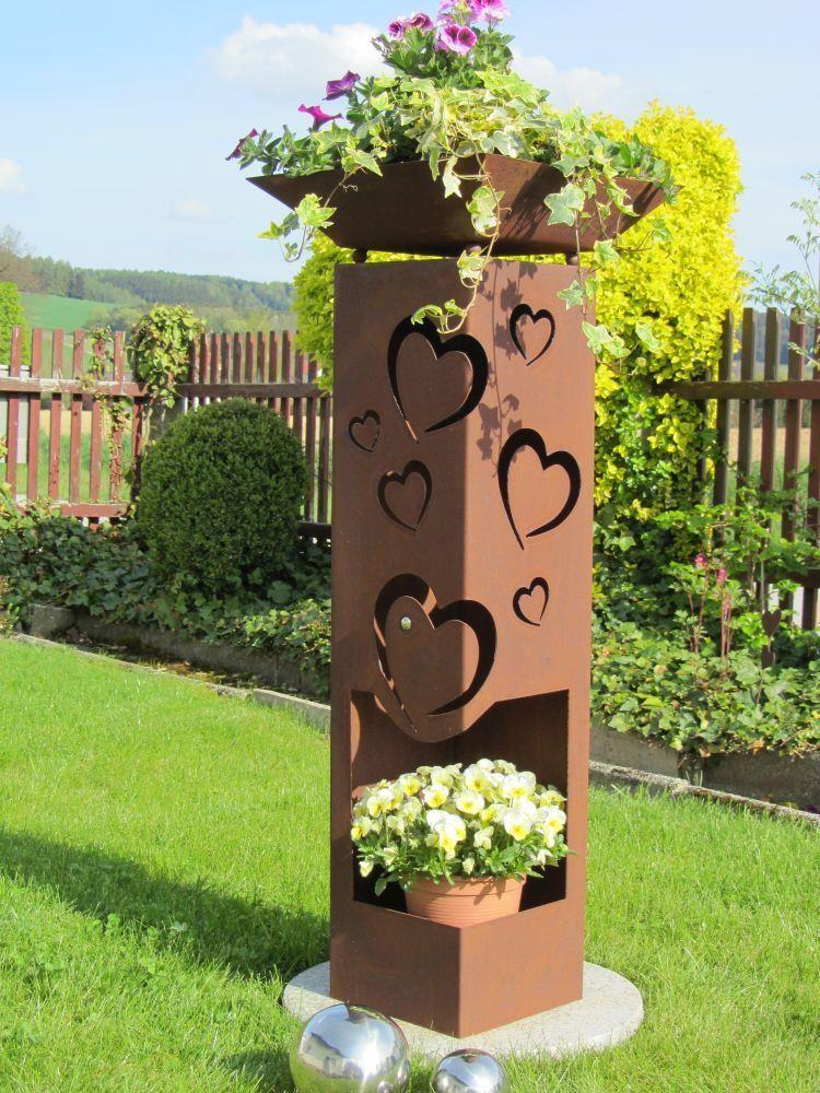 4Eck Säule HERZ Neu Rost Edelrost Gartendeko Stele Rost Deko Rostsäule Garten in Garten