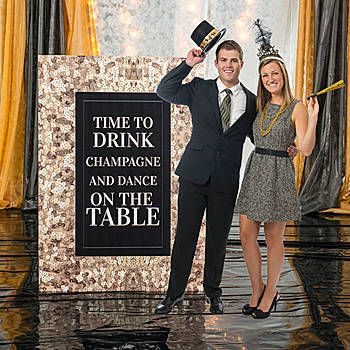 this magnificent new years sequin photo booth standee features an elegant sequin border with your custom text in the center