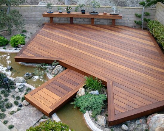 Beautiful Minimalist Wooden Deck Design Asian Style Running Water
