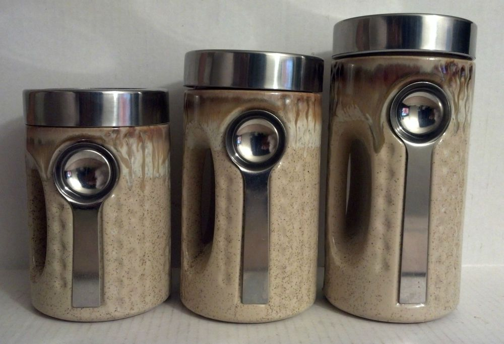 3 Piece Tan Canister Set Modern Kitchen With Spoon