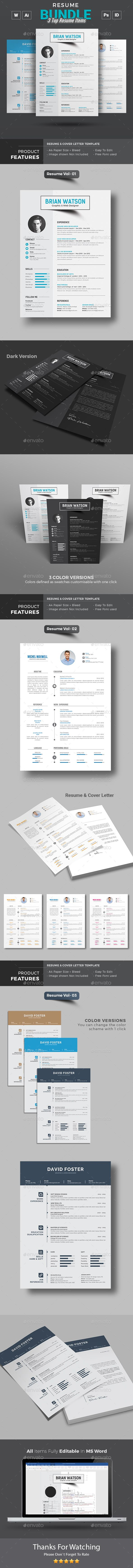 Simple Resume Format in Word | Light and Dark color versions | 3 ...