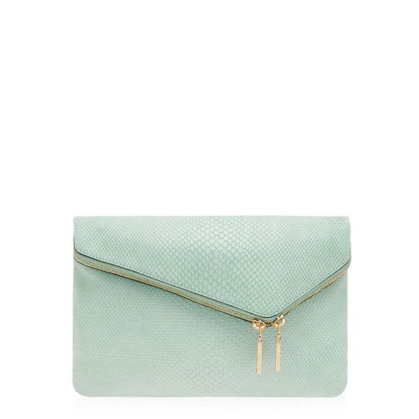 Henri Bendel Debutante Suede Convertible Clutch (£115) ❤ liked on Polyvore featuring bags, handbags, clutches, lt blue, blue handbags, white handbags, white purse, chain purse and fold-over handbags