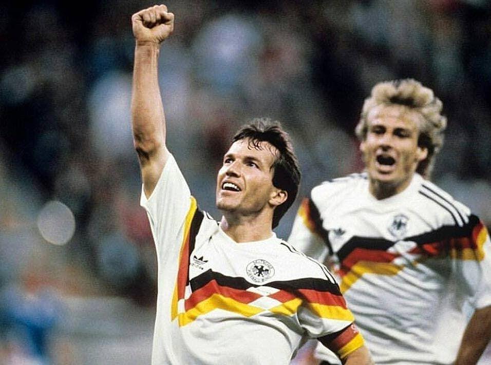 Lothar Matthaus Jurgen Klinsmann Celebrating A Goal During The Worldcup Lothar Matthaus Jurgen Klinsmann Ce Jurgen Klinsmann Sports Sports Jersey