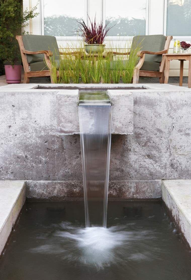 Bassin D Eau Exterieur fontaine pierre cascade jardin idée extérieur déco