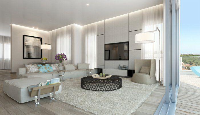 Wohnzimmer Einrichten Beispiele Runder Couchtisch Spiegeloberflächen Helle  Wände