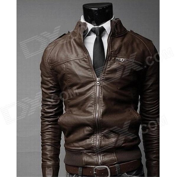Fashionable PU Leather Zipper Slim Fit Men's Coat - Brown (Size-XL)