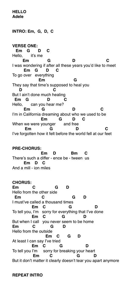Adele Hello Ukulele Chords Pt 1 Ukelele Pinterest Adele