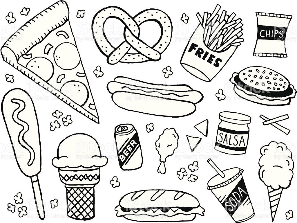 A Junk Food Fast Food Themed Doodle Page Doodle Pages Doodles