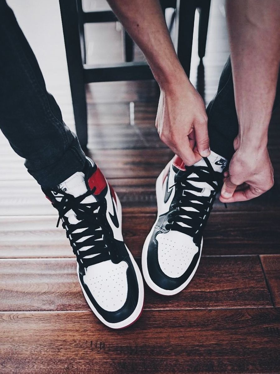 Jordan 1 black toe white laces dresses